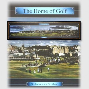 Golf memorabilia piece featuring St Andrews - the Home of Golf during the British Open