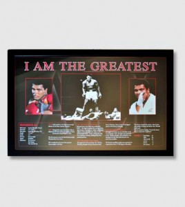 "Muhammad Ali ""I am the Greatest"" Framed print showing career highlights and biographical details"